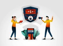Flat character. Banking guarantees the security of customer financial data. financial sector also works with consultants to audit. Security alarm systems that vector illustration