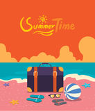 Flat character design summer time concept Stock Images
