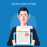 Flat character of digital news letters concept illustrations Stock Photos