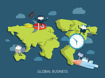 Flat character global business concept illust. Ration Royalty Free Stock Images