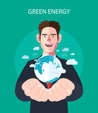 Flat character of green energy concept illustrations Royalty Free Stock Image