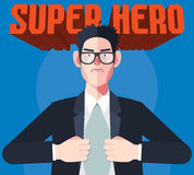 Flat character of hero businessman concept illustrations Stock Photography