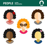 Flat character is a housewife woman on white background Royalty Free Stock Images