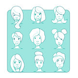 Flat character illustration.Icon set.Outline style Stock Photography