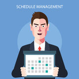 Flat character of schedule manager concept illustrations Stock Photos