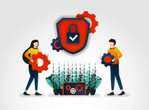 Flat character. Security service provider companies provide security officer training to improve security service monitoring and r. Educe security threat for vector illustration
