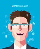 Flat character of smart glasses concept illustrations Royalty Free Stock Photography