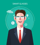 Flat character of smart glasses concept illustrations Royalty Free Stock Images