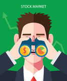 Flat character of stock market illustrations Stock Images