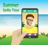 Flat character taking selfie by mobile phone on the beach Stock Photos