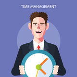 Flat character of time management concept illustrations Stock Photography