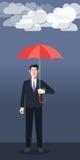 Flat character of umbrella businessman concept illustrations Royalty Free Stock Photo