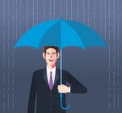 Flat character of umbrella businessman concept illustrations Stock Photo