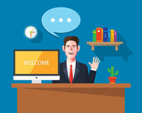 Flat character of worksapce businessman concept illustrations Royalty Free Stock Image