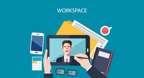 Flat character of worksapce businessman concept illustrations Royalty Free Stock Photos