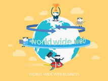 Flat character world wide web business concept illustration Royalty Free Stock Photography