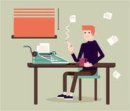 Flat character - writer. Writer ssits by the table and writing a new story. Retro vintage style. Indoor illustration. Vector flat design. Flat character Royalty Free Stock Images