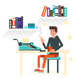 Flat character - writer. Writer ssits by the table and writing a new story. Retro vintage style. Indoor illustration. Vector flat design. Flat character Stock Photography