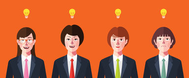 Flat characters of brainstorming people concept illustrations Royalty Free Stock Photo