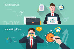 Flat characters of business plan concept illustrations Royalty Free Stock Photo