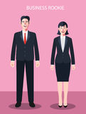 Flat characters of business rookie people concept illustrations Stock Photography