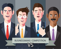 Flat characters of competition people concept illustrations Stock Images