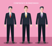 Flat characters of confidence businessman concept illustrations Royalty Free Stock Images