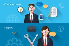 Flat characters of customer support concept illustrations Royalty Free Stock Images
