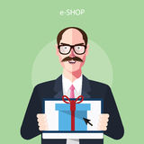 Flat characters of e-shop concept illustrations Royalty Free Stock Photography
