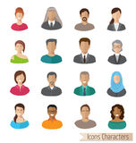 Flat Characters Icons Set Royalty Free Stock Photo