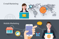 Flat characters of marketing concept illustrations Stock Photo