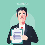 Flat characters of reminder concept illustrations Stock Images