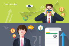 Flat characters of stock market concept illustrations.  Stock Images