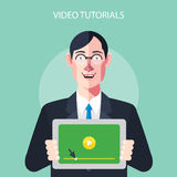 Flat characters of video tutorials concept illustrations Stock Photo