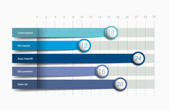 Flat chart, graph. Simply blue color editable. Infographics elements stock illustration