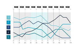 Flat chart. Lined graph. Simply color editable. Royalty Free Stock Photo