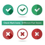Flat check marks set. Different kinds of flat Royalty Free Stock Images