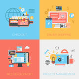 Flat checkout online shopping web develop project management set. Flat checkout methods, online shopping, web development, project management concept. Vector Stock Images