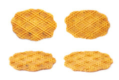 Flat cheese cookie isolated. Flat cheese cookie covered with a pattern, isolated over the white background, set collection of four different foreshortenings Stock Photography