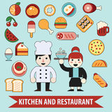 Flat chef character and food icons. Stock Photography