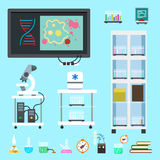 Flat chemistry lab equipment set Royalty Free Stock Images