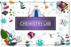 Flat Chemistry Laboratory Concept. With scientist test flasks tubes books microscope atom molecule chemical formulas in frame vector illustration royalty free illustration