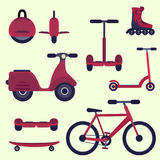 Flat cherry red fashion youth city transport set stock illustration