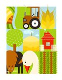 Flat Childish Rectangular Agriculture Farm Set Royalty Free Stock Image