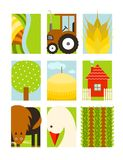 Flat Childish Rectangular Agriculture Farm Set Royalty Free Stock Images