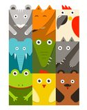 Flat Childish Rectangular Animals Set Stock Photography