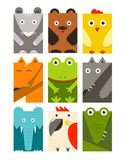 Flat Childish Rectangular Animals Set Royalty Free Stock Photography