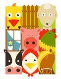 Flat Childish Rectangular Cattle Farm Animals Set Stock Image