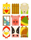 Flat Childish Rectangular Cattle Farm Animals Set Royalty Free Stock Images
