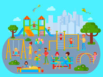 Flat Childrens Playground Composition Royalty Free Stock Image